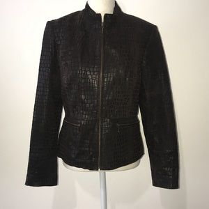 Alfani Brown 100% Leather Jacket Size Medium